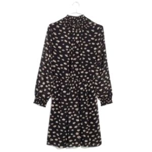 Madewell Mistlight Mock Neck Dress Large Black